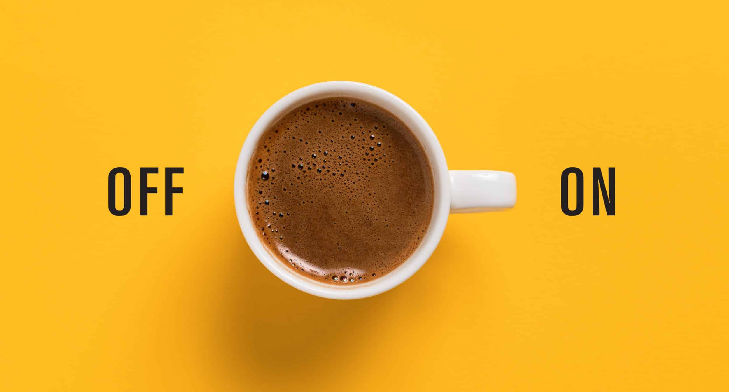 http://Cup%20of%20coffee%20on%20yellow%20background%20like%20switch%20button